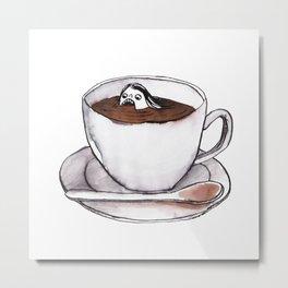 Caffeine addict tea and coffee cup illustration Metal Print