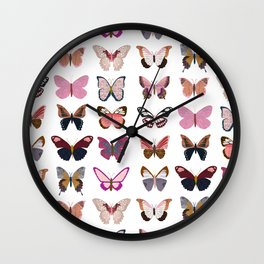 Pink Butterflies Wall Clock