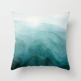 Sunrise in the mountains, dawn, teal, abstract watercolor Throw Pillow