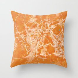 Mecca, Saudi Arabia, Gold, Blue, City, Map Throw Pillow