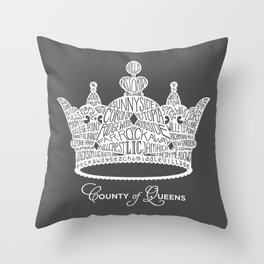 County of Queens | NYC Borough Crown (WHITE) Throw Pillow