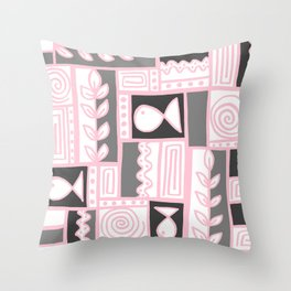 Fishes Seaweeds and Shells - Gray and Pink Throw Pillow