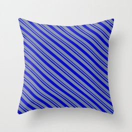 Blue and Light Slate Gray Colored Stripes Pattern Throw Pillow