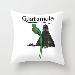 Guatemala Quetzal Chapin Guate Antigua Peten Tikal Maya Puchica Gift Retro Throw Pillow