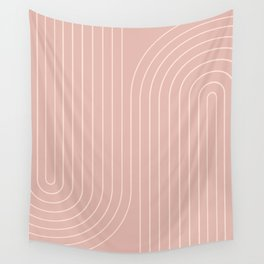 Minimal Line Curvature - Vintage Pink Wall Tapestry