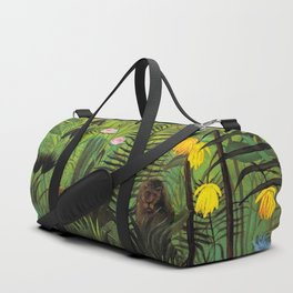 EXOTIC LANDSCAPE WITH LION AND LIONESS IN AFRICA - HENRI ROUSSEAU  Duffle Bag