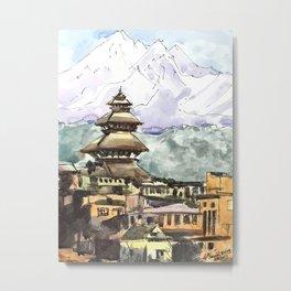 Nepal Temple Bhaktapur Kathmandu Metal Print