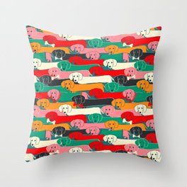 dachshund pattern- happy dogs Throw Pillow