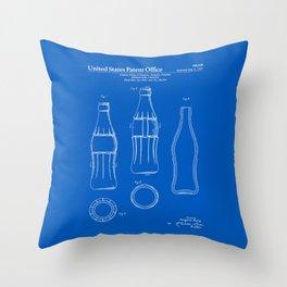 Soda Bottle Patent - Blueprint Throw Pillow