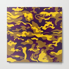 Camo Style - Purple Gold Camouflage Metal Print