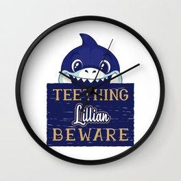 Lillian - Funny Kids Shark - Personalized Gift Idea - Bambini Wall Clock