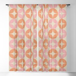 Mid Century Modern Pattern in Pink and Orange Sheer Curtain