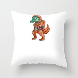 Spaced Out Astronaut Crocodile Outserspace Science Geek Throw Pillow