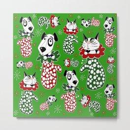 Christmas Puppies & Kittens Stuffed into Mittens! Metal Print