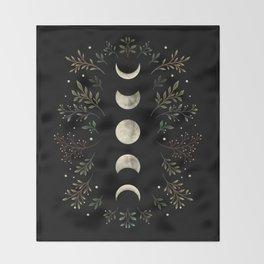 Moonlight Garden - Olive Green Throw Blanket
