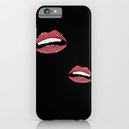 Red lips with diamonds iPhone Case
