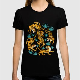 Tiger dance in the tropical forest hand drawn illustration T-shirt