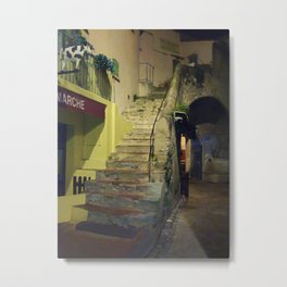 Staircase at the market in St. Tropez Metal Print