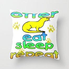Otter Eat Sleep Repeat Throw Pillow