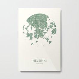 Vintage Styled Map of Helsinki   Pastel Green Print Poster Metal Print