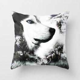 The Husky's Mountain Gaze by Vince Bongiovanni Throw Pillow