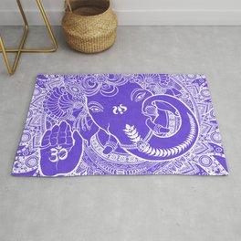 Ganesha Lineart Lilac White Rug
