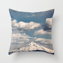 Mount Hood II - Snow Capped Mountain Adventure Nature Photography Throw Pillow