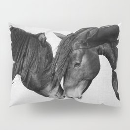 Horses - Black & White 4 Pillow Sham