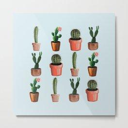 Various Cacti Light Blue Metal Print