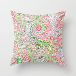 Pastel Pink and Grin Fern Swirls Throw Pillow