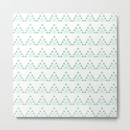 Modern pastel green white triangles chevron zigzag Metal Print