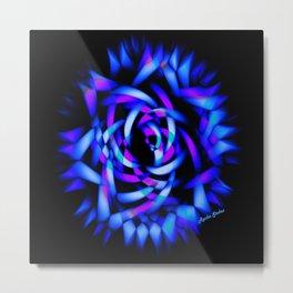 Neon Blue Rose - Rasha Stokes Metal Print