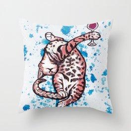 Drunk Kitty Throw Pillow