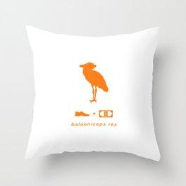 shoebill orange Throw Pillow