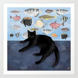 Ivy the Black Cat & The Fish Tank Art Print