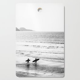 Surfers, Black and White, Beach Photography Cutting Board