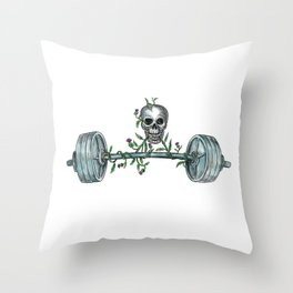 Skull Lifting Barbell Thistle Tattoo Throw Pillow