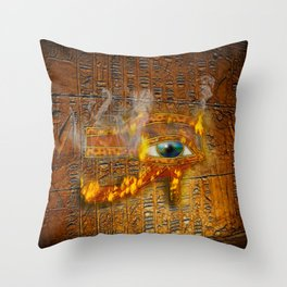 The Prophecy of Fire - Ancient Egypt Eye of Horus Throw Pillow