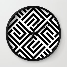 LABYRINT MAZE CUBE BLACK AND WHITE Wall Clock