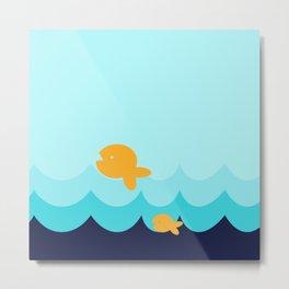 Beach Series Aqua- Gold Fish Animals in the deep Sea Metal Print