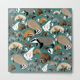 Eurasian badgers pattern teal Metal Print