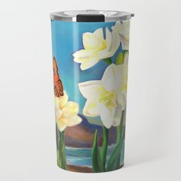 A Morning Greeting From Narcissus Flowers Travel Mug