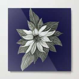 Florida Flower Navy Blue Background Metal Print