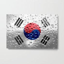 Flag of South Korea - Raindrop Metal Print