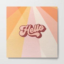 Retro 'Hello' Sunshine - Peachy Metal Print