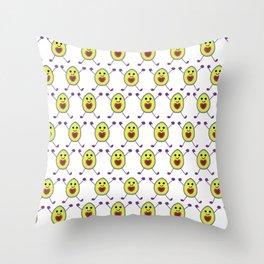 Happy Avocados on White Throw Pillow