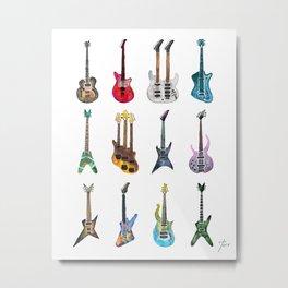 Electric Guitars Watercolor Metal Print