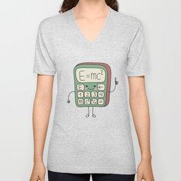 cartoon funny calculator smiles Unisex V-Neck
