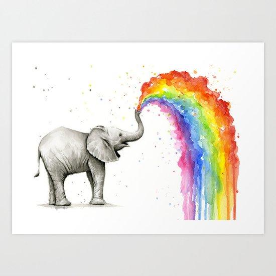 Rainbow Baby Elephant by olechka