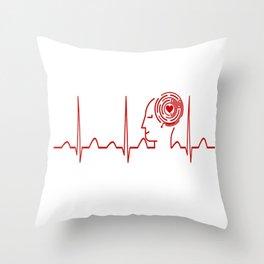 Psychology Teacher Heartbeat Throw Pillow